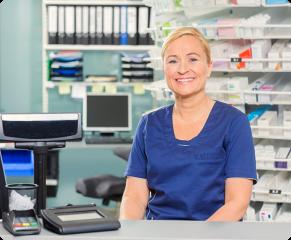 elderly female pharmacist