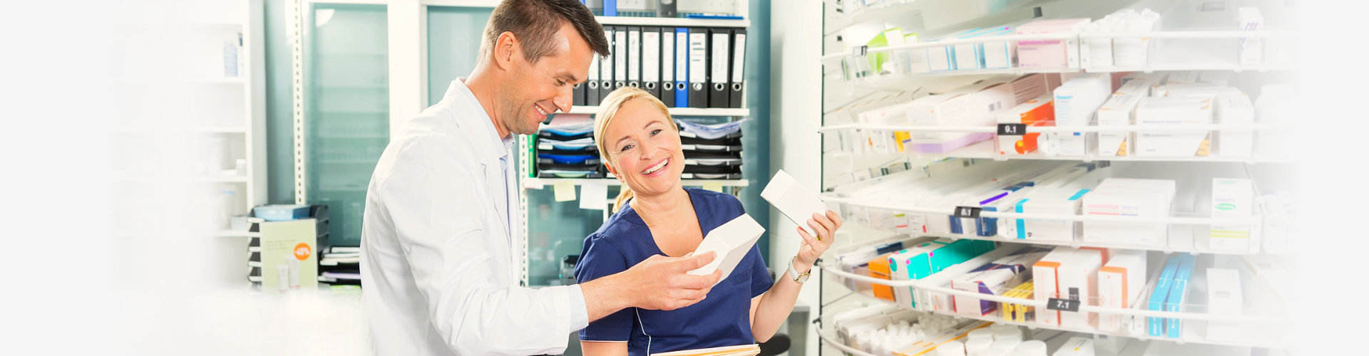 female assistant together with the pharmacist