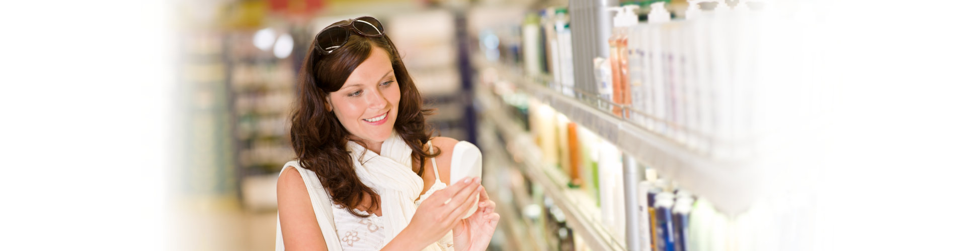customer looking at products at a pharmacy